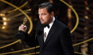 Leonardo DiCaprio accepts the Oscar for best actor and speaks out on climate change.