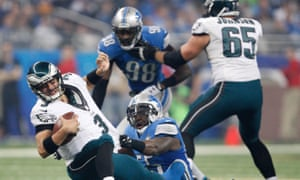 Eagles quarterback Mark Sanchez is sacked as his team get blown out 45-14 by the Lions.
