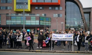 People protest outside Alder Hey hospital where Alfie Evans is being treated.