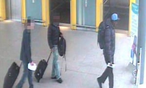 Still from CCTV footage shows  Yahya Rashid arriving at Gatwick airport with two others
