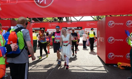 Finishing a marathon can be an emotional experience ..