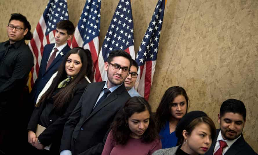 Immigration activists stage a demonstration in Washington. Hundreds of thousands of Dreamers face a looming deadline for their protections to expire.