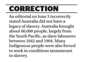 The correction that ran in the Age and Sydney Morning Herald