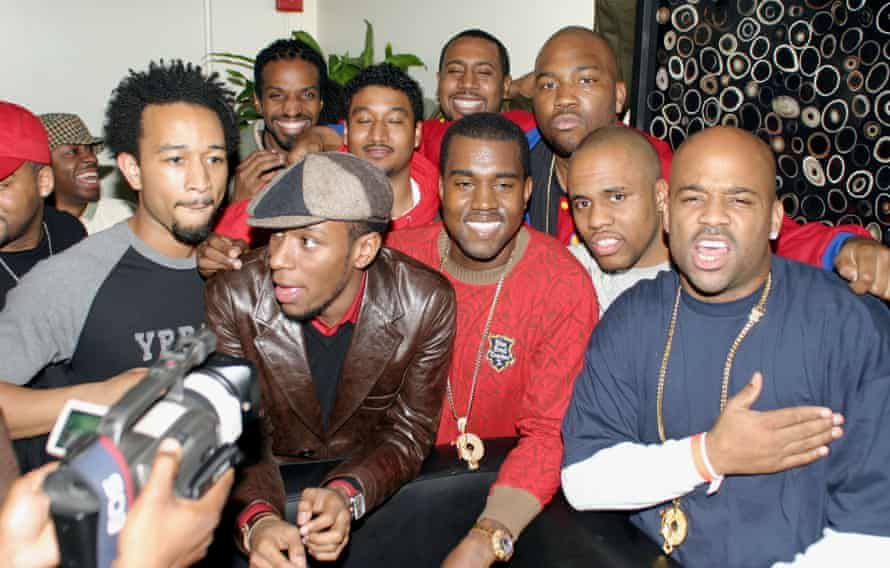 Kanye West's 2003 performance at the Canal Room, pictured withJohn Legend, Mos Def, Consequence and Damon Dash.
