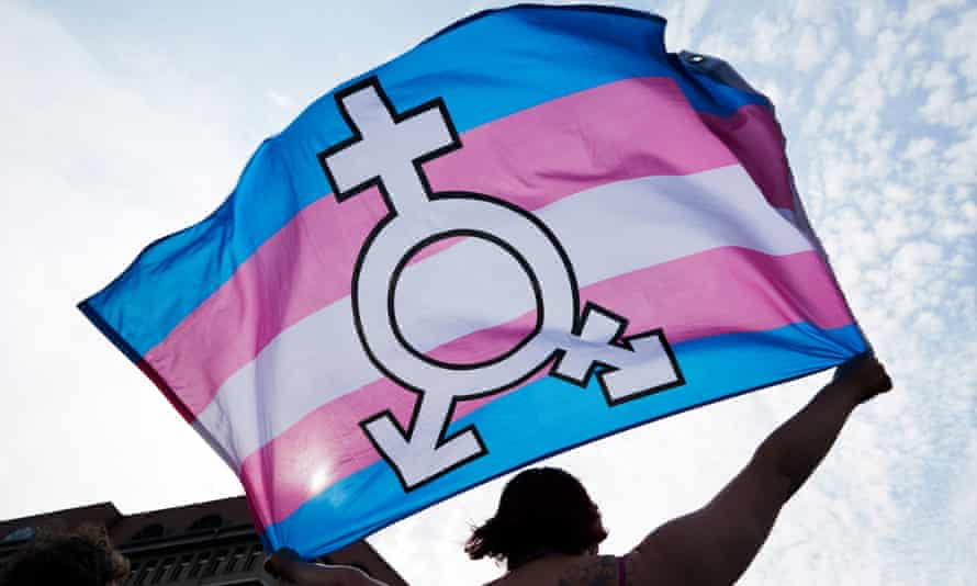 a trans and gender- diverse flag during held up during a rally in support of LGBTQ rights.