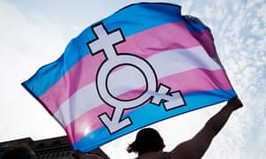 A person carrying a trans flag