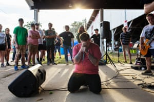 """""""I thought being Christian gave me a chance at family. Now I feel like I was exploited for my emotions."""" Chris Lane performs with hardcore band Headrush at an impromptu stage. Lane left his evangelical faith in 2012, but continues to see the Christian hardcore scene as family."""