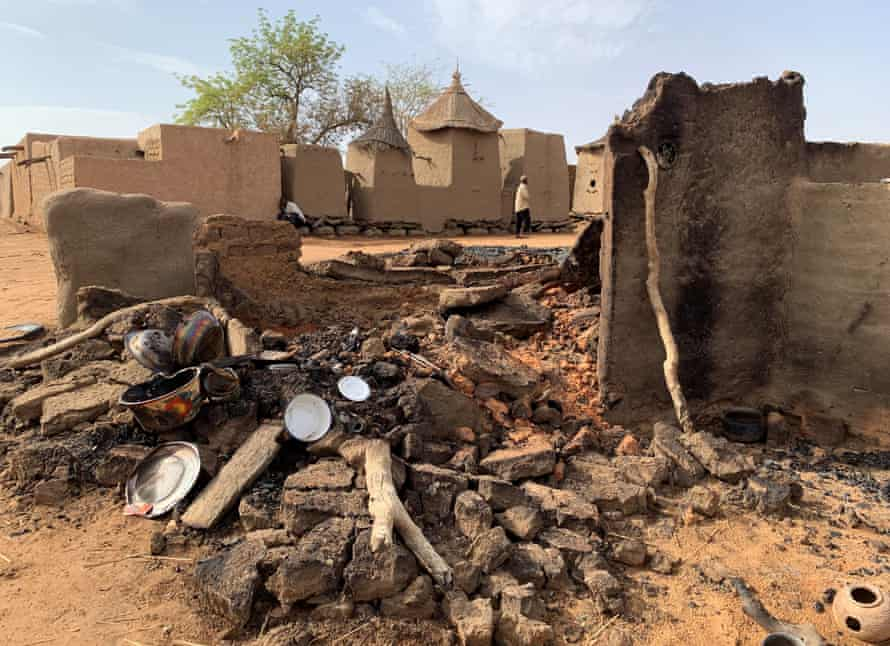 Damage at the site of an attack on the Dogon village of Sobane Da, Mali
