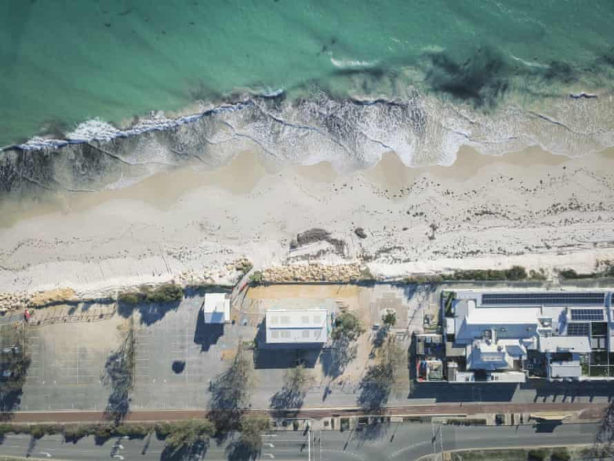 Winter storms have left some buildings teetering on the edge at Port beach in Fremantle.