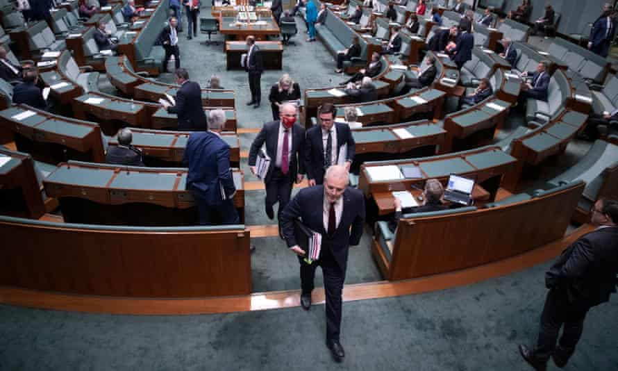 Prime minister Scott Morrison leaves the chamber after question time in the House of Representatives