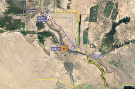 Map of the area around Basra showing the position of Charax Spasinou. The Iran-Iraq border is marked in yellow, with the main Iraqi defensive lines protecting Basra and the Basra-to-Baghdad highway marked in blue. Charax Spasinou lies just behind the defensive lines north of Basra.