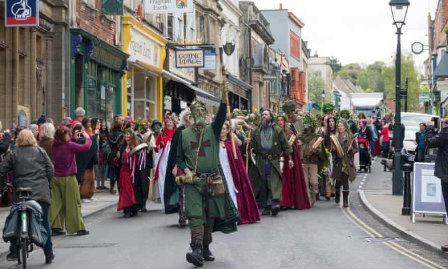 A May Day procession in Glastonbury.