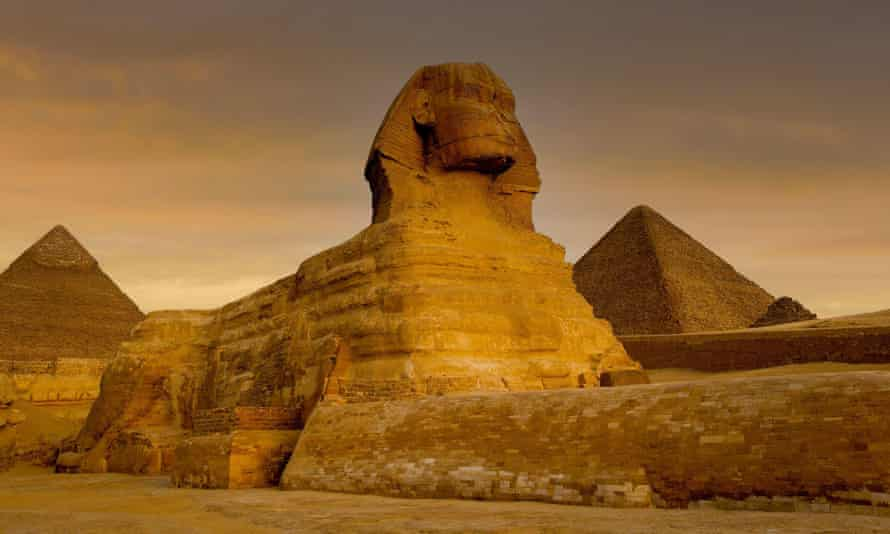 The sphinx and pyramids at Giza, Egypt.
