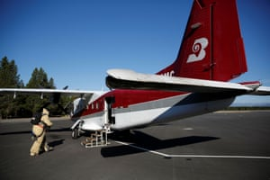 Nate Rose walks up to the Dornier 228 plane, which is headed for McCall in Idaho.