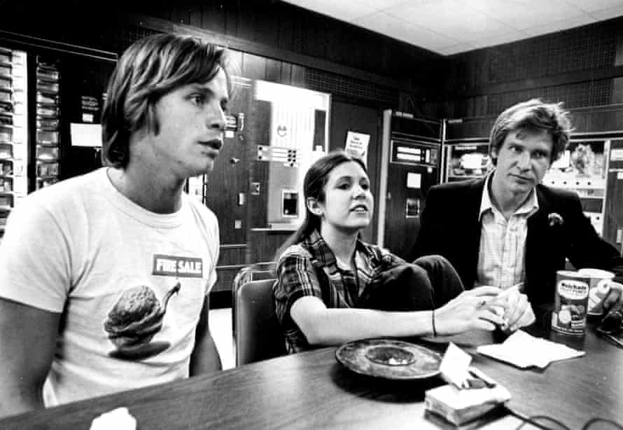 Actors Mark Hamill, Carrie Fisher and Harrison Ford in 1977