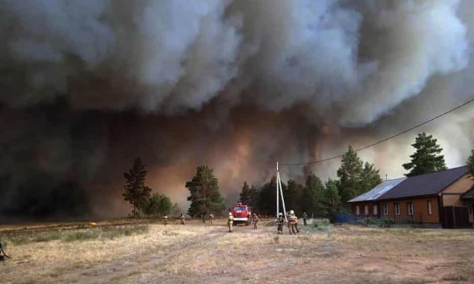 Wildfires have destroyed dozens of houses in the central western Chelyabinsk region in Russia.