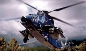 A blue helicopter