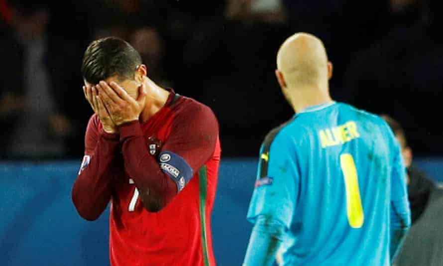 Cristiano Ronaldo misses a penalty in Portugal's 0-0 draw with Austria at Euro 2016.