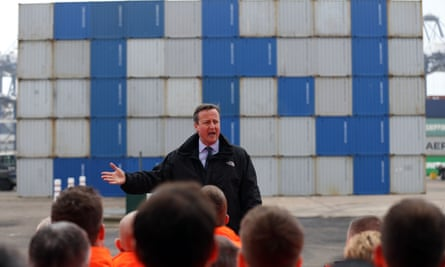 David Cameron visits port of Felixstowe in Suffolk, saying that the remain campaign has '100 days to secure our future'.