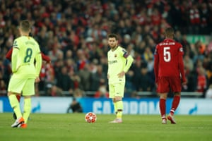 Barcelona's Lionel Messi dejected after the fourth goal,