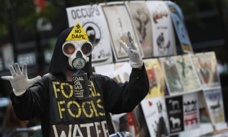 An Occupy activist on the fifth anniversary of the movement in September 2016.