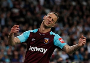 Arnautovic reacts after his missed chance.
