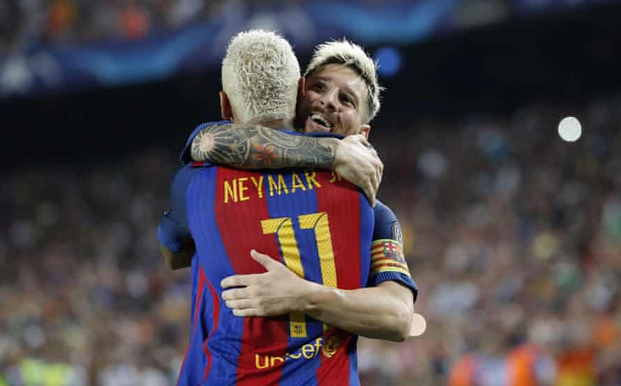 Neymar and Lionel Messi celebrate during the game.
