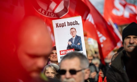 Demonstrators hold up a poster of Thuringia's former state premier, Bodo Ramelow, of the leftwing Die Linke party during an anti-fascist protest this month.