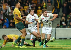 Owen Farrell and George Ford are jubilant after that try.