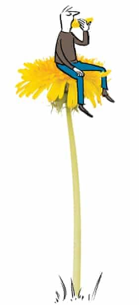 Illustration of man sitting on photo of a dandelion