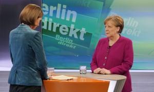 Angela Merkel being interviewed by ZDF journalist Bettina Schausten.
