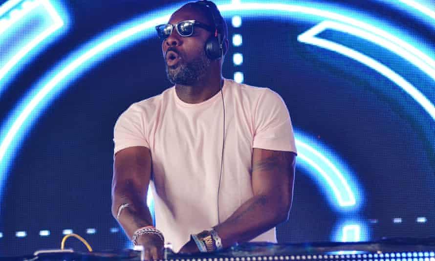 Idris Elba DJing at Glastonbury.