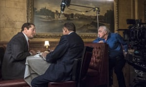 Director Martin Scorsese, right, with actors Robert De Niro, left, and Joe Pesci on the set of The Irishman.