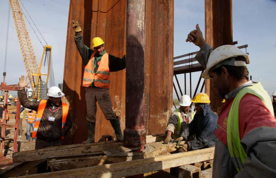 Workers begin first-day of construction for the TGV high-speed train line linking Casablanca to the south via the capital Rabat