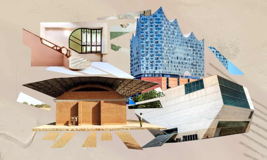 From left: Gando School, Sala Beckett, Elbphilharmonie, Casa de Musica