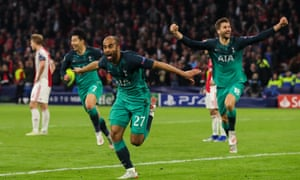 Lucas Moura of Tottenham Hotspur celebrates after scoring to make it 2-3.