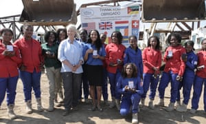 Cindy McCain, a veteran campaigner against landmines, with the team of female deminers employed by the Halo Trust, which has cleared more than 100,000 mines in Mozambique.