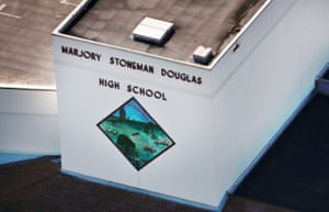 An aerial view of Marjory Stoneman Douglas high school following the mass shooting.