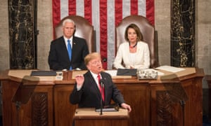 Trump gives his second State of the Union address, watched by House Speaker Nancy Pelosi and Vice President Mike Pence.