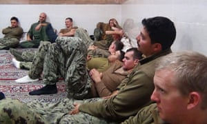 US sailors under detention by Iran's Revolutionary Guards after their patrol boats entered Iranian waters unintentionally, January 2016.