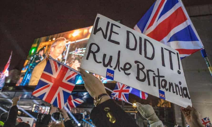 Leave supporters gather in Parliament Square on 31 January 2020 to celebrate the UK officially leaving the EU