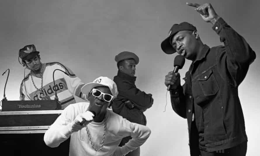 Public Enemy (l to r) Terminator X, Flavor Flav, Professor Griff and Chuck D, 1987.