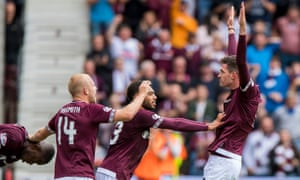 Hearts' Kyle Lafferty celebrates scoring what proved the only goal of the game against Celtic