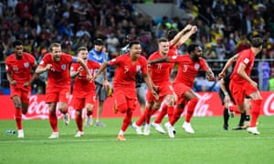England's players race to congratulate Eric Dier after his penalty took Gareth Southgate's side into the World Cup quarter-finals in Russia.