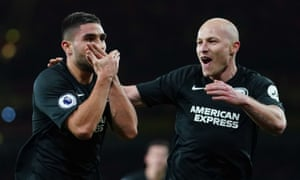 Neal Maupay celebrates scoring the second Brighton goal with Aaron Mooy.