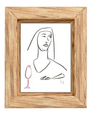 Original wine-themed line drawing by Louise Sheeran