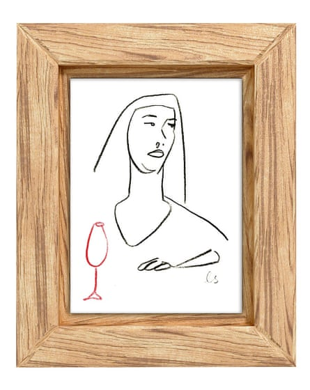 Original wine-themed line drawing by Louise Sheeran