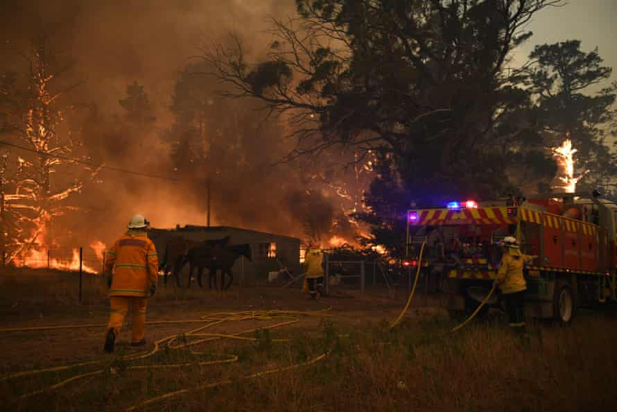 NSW Rural Fire Service crews fight the Gospers Mountain Fire at Bilpin, NSW.