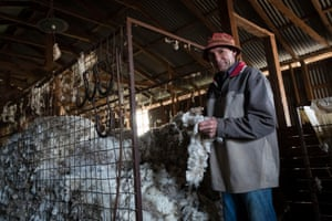 Greg Jerry on the family farm Maryborough, outside Coonabarabran. The load of wool pictured is the last income the family expect from the farm for another 12 months.