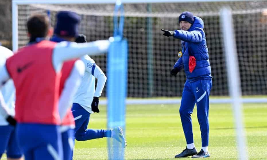 Thomas Tuchel directs Chelsea training last month